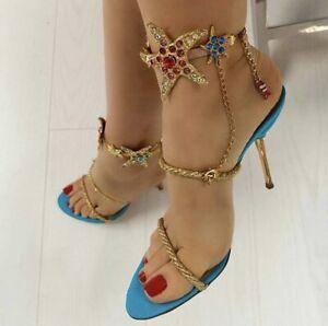 Ladies Sandals Open Toe Stiletto Heels_Karen Millen Turquoise Color Size 39