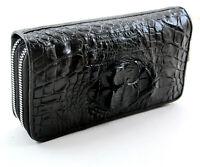 Real Black Crocodile Horn back Leather Skin Women Double Zipper Clutch Wallet.