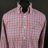 Tommy Hilfiger Mens Vintage Shirt LARGE Long Sleeve Regular Fit Check Cotton