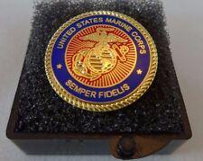 USMC Marine Corps TIE Tack Clasp Lapel Pin Eagle Globe Anchor EGA Boxed Gift