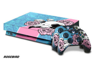Xbox One X Console Skin with 2 Controller Decals ROSE BIRD Blue Pink flowers her