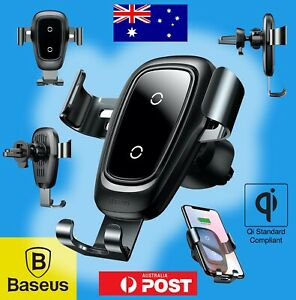 Baseus WIRELESS QI CHARGER iPhone X XS XR 11 pro Samsung S9 S10 Car Holder Mount