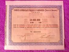 ACCIO FORCES HIDROELECTRIQUES D'ANDORRA 1930