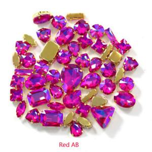 100pcs Mixed Shapes Sizes Crystal Colour AB Rhinestone Settings Sew On Glass