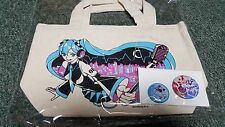 Hatsune Miku Vocaloid- Japan Prize-Tote Bag & Pin Set- Type D- Happy J- New