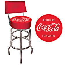 Vintage Coca Cola Padded Metal Coke Bar Stool w/ Back - Decorative Furnishings