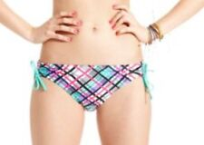 California Waves Bikini Bottom Sz S Green Multi Plaid Tie Side Swim Pant