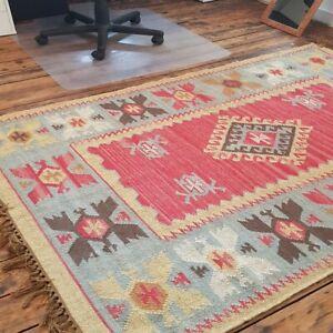 100% Wool Kilim Pale Ochre, Grey 120x180cm Quality Hand Made Reversible rug