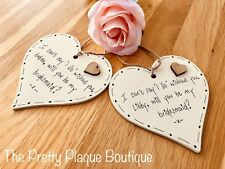 Will you be my bridesmaid personalised wooden heart plaque gift maid of honor