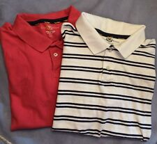 CLUB ROOM 2 MEN'S POLO GOLF SHIRTS STRIPED White/navy & Salmon