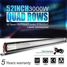 "10D+ Quad-Row 3000W 52Inch Work LED Light Bar Flood Spot Driving Offroad 50''54"""