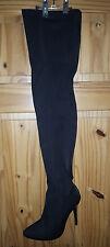 Ladies  BLACK Stretchy Thigh High Stiletto Boots  42