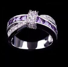 Purple Amethyst Zircon 10KT White Gold Filled Jewellery Size 7