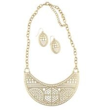 NEW Geometric Cutout Breastplate Statement Necklace & Earrings in Matte Goldtone