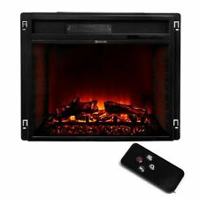 "26"" Black Electric Firebox Fireplace Heater Insert flat Glass Panel W/ Remote"