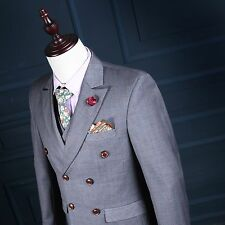 Mens 3 Piece Grey Style Prince Of Wales Check Suit Tailored Fit Vintage Hot New
