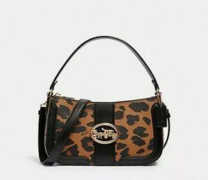 NWT Coach 5603 Leopard Print Georgie Baguette w/ Sig Canvas Shoulder Bag $328