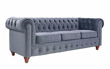 Classic Grey Velvet Chesterfield Tufted Button Scroll Arm Rest Sofa