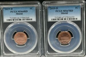 2019 D  Lincoln 1C PCGS MS66RD / MS67RD Shield set of 2