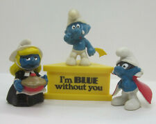 Vintage Lot 3 Smurf PVC Figures Blue Without You Pilgrim Spy Wallace Berrie