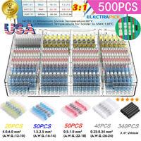 500PCS Waterproof Heat Shrink Butt Terminals Solder Seal Sleeve Wire Connectors