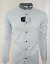 MENS GRANDAD STRIPE COLLAR LONG SLEEVE FORMAL SHIRT WAS £29.99 TO 15.99(317L