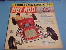 March 1963 Hot Rod Magazine Pontiac'S New Super 421 V8 Road Test Harley Sprint H