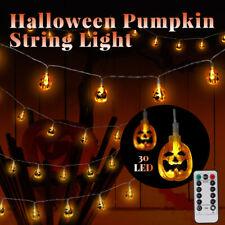 Halloween Decor Pumpkin String LED Fairy Lights Outdoor Waterproof Remote Lamp