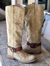 Frye Tan Brown Suede Strap Riding Boots 77647 Women's Size 6 B