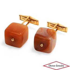 Estate Agate 14K Gold Elegant Cube Cuff Links 23.9 Grams NR