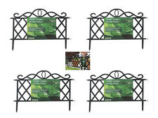 NEW BLACK 12pc GARDEN BORDER FENCE EDGING PICKET LATTICE FENCING PANELS PATHWAY