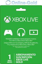 Xbox Live Gold Suscripción 1 Meses código Xbox One 360 Prepago Tarjeta Membresía