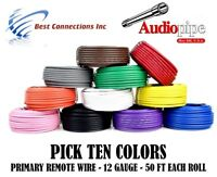 12 GAUGE 50 FT ROLLS PRIMARY AUTO REMOTE POWER GROUND WIRE CABLE (10 COLORS)