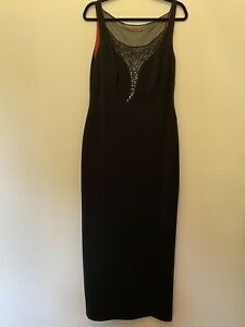 Bernshaw black evening dress, cutout sequinned detail on front and back 14/16