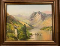 """Oil on Canvas Painting of the Scottish Highlands signed by artist """"Sassone"""""""