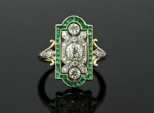 Engagement in Sterling Silver S925 Vintage Green Gemstone Art Deco Style