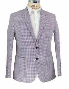 Edoardo Borrelli Napoli Gingham Seersucker Sportcoat 48 (EU58) Handmade in Italy