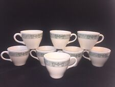 Scoop Currier And Ives Cream Green  Ox Yoke & Turning Plow Lot Of 8 Coffee Mugs