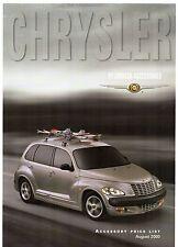Chrysler PT Cruiser Accessories Price List 2000-01 UK Market Leaflet Brochure