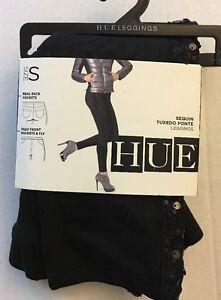 HUE 1 Pair Sequin Tuxedo Ponte Legging S Black U16462 NWT Pants
