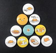"Gudetama 1"" Pin Button Lot Set #3 Lazy Grumpy Depressed Egg Japan Sanrio"