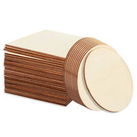 36pcs Art Natural Blank Wood Piece Slice Unfinished Craft Wooden Discs Placemat