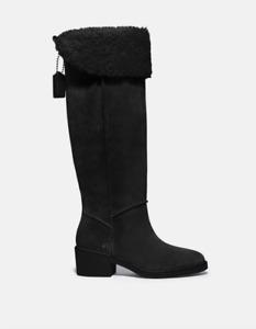 COACH Women Black Janelle Suede Boot Size 7B NWOB 350$+TAX