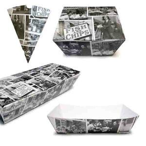 Newsprint Compostable Biodegradable Chip Shop Boxes / Cones & Food Boxes
