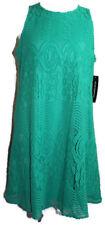 Sharagano Emerald Crotchet Lace Overlay Sleeveless Shift Dress Women's Size 12
