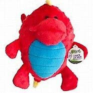 goDog Dragon Grunters Red  dog toy with chew guard