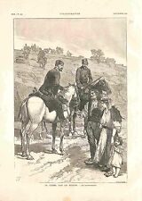 Bulgarie Guerre des Balkans Gendarmes à Cheval Gendarmerie Cavalier GRAVURE 1885