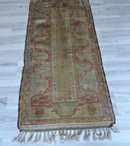 Vintage Authentic Faded Milas Rug 2x5 Genuine Turkish Handwoven Wool Area Carpet