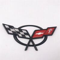 Black Hood Trunk Corvette C5 Cross Flags Emblem Badge for Chevy Z06 1997-2020