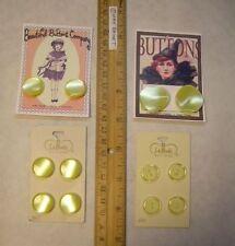 12 Vintage PEARL TONE pale Yellow Buttons on Art Cards = La Mode + Cassie Annie